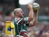 George Chuter of Leicester prepares to throw the ball during the Aviva Premiership match between Leicester Tigers and London Wasps at Welford Road on April 14, 2013