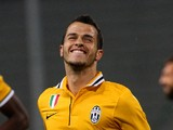 Sebastian Giovinco of Juventus celebrates after scores his opening goa during the Serie A match between Udinese Calcio and Juventus at Stadio Friuli on April 14, 2014