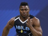 Former Buffalo linebacker Khalil Mack runs the 40-yard dash during the 2014 NFL Combine at Lucas Oil Stadium on February 24, 2014