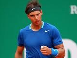 Rafael Nadal celebrates his win over Teymuraz Gabashvili in the Monte Carlo Masters second round on April 16, 2014