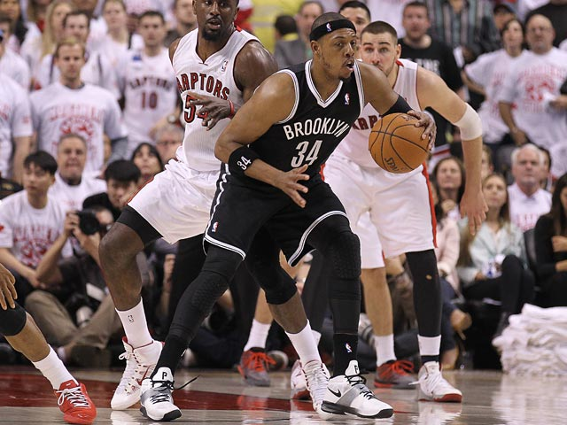 Paul Pierce #34 of the Brooklyn Nets plays against the Toronto Raptors in Game One of the NBA Eastern Conference play-off on April 19, 2014