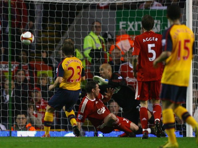 Andrey Arshavin scores for Arsenal against Liverpool on April 21, 2009.