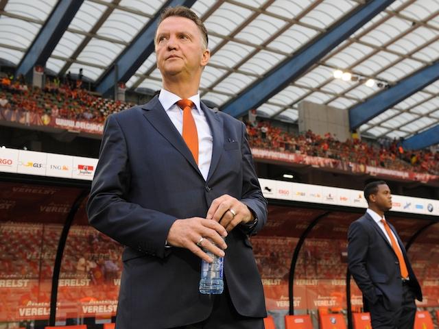 Dutch coach Louis van Gaal looks on before a friendly between Belgium and Netherlands in Brussels on August 15, 2012