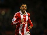 Oussama Assaidi of Stoke City celebrates scoring the opening goal during the Barclays Premier League match between Stoke City and Everton at Britannia Stadium on January 1, 2014