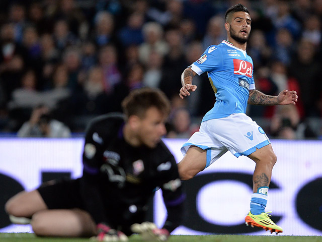 Napoli's Lorenzo Insigne scores the opening goal against Fiorentina during the Coppa Italia Cup final on May 3, 2014