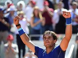 Rafael Nadal celebrates victory over Thomas Berdych in their quarter final Madrid Masters match on May 9, 2014