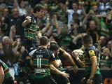 Tom Wood of Northampton Saints celebrates after scoring the last minute match winning try during the Aviva Premiership semi final match between Northampton Saints and Leicester Tigers at Franklin's Gardens on May 16, 2014