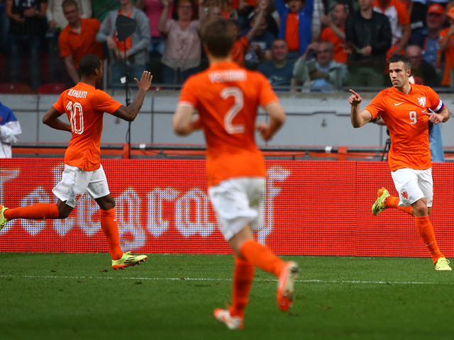 Robin van Persie of Holland celebrates after scoring the teams only goal of the game during the International Friendly match between The Netherlands and Ecuador at The Amsterdam Arena on May 17, 2014