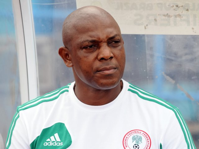 Nigeria coach Stephen Keshi stands on the touchline on March 23, 2013.