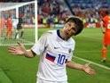 Russian striker Andrey Arshavin celebrates scoring against Holland on June 21, 2008.