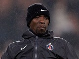 PSG assistant, Claude Makelele kicks the ball prior to the French Cup match between Paris Saint-Germain FC and Marseille Olympic OM at Parc des Princes on February 27, 2013