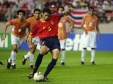 Fernando Hierro strikes a penalty for Spain at the World Cup on June 07, 2002.