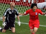Former Manchester United midfielder Park Ji-sung celebrates scoring for South Korea against France on June 18, 2006.