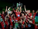 Toulon's English fly-half Jonny Wilkinson raises the European Cup as Toulon celebrate after winning the final rugby union match between RC Toulon and Saracens at The Millennium Stadium in Cardiff, South Wales, on May 24, 2014