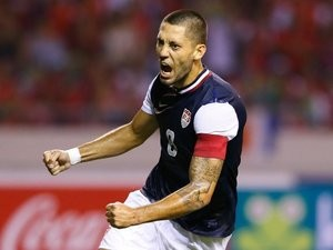 Former Fulham and Tottenham Hotspur midfielder Clint Dempsey celebrates scoring for the USA on September 06, 2013.