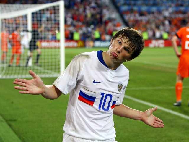 Russian striker Andrey Arshavin celebrates scoring against Holland on June 21, 2008.