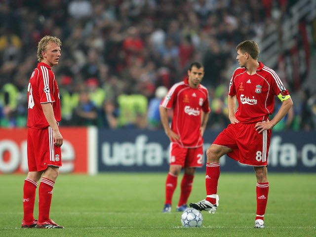 Dirk Kuyt and Steven Gerrard of Liverpool prepare to re-start following the the first goal by Milan during the UEFA Champions League Final match on May 23, 2007