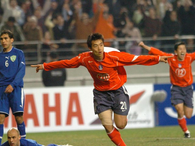 Lee Dong-gook celebrates scoring a goal for South Korea on March 30, 2005.