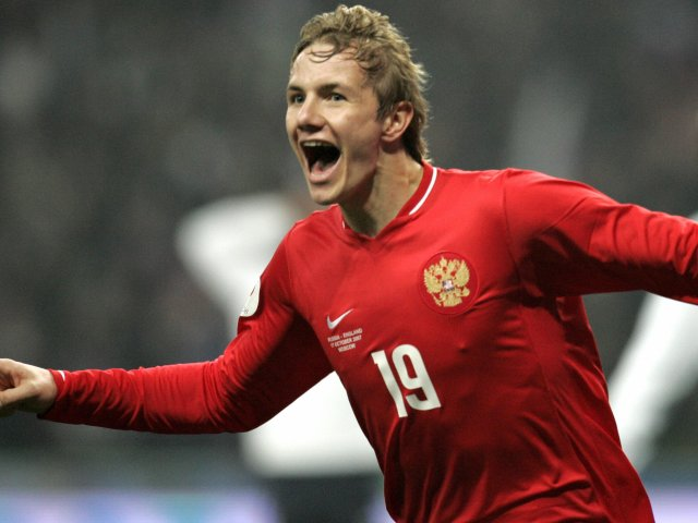 Roman Pavlyuchenko celebrates scoring for Russia against England on October 17, 2007.