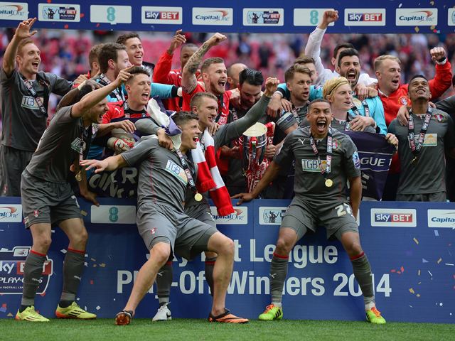 Players of Rotherham United celebrate victory during the Sky Bet League One Playoff Final between Leyton Orient and Rotherham United at Wembley Stadium on May 25, 2014