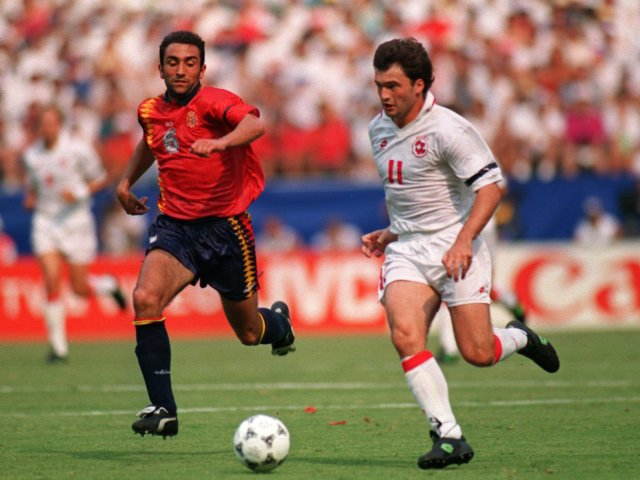 Stephane Chapuisat in action for Switzerland against Spain at the World Cup on July 03, 1994.