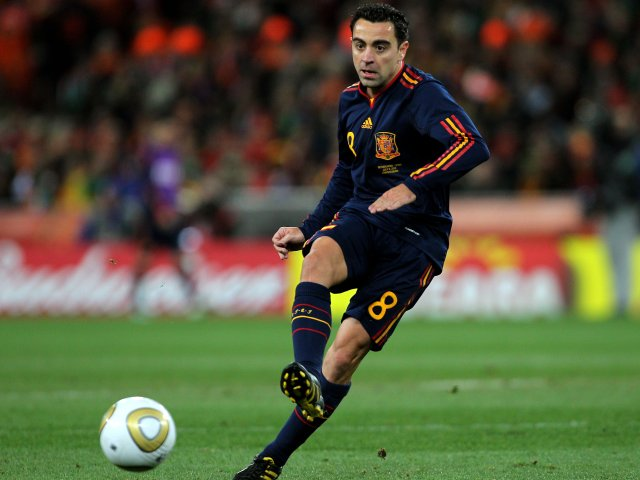Xavi in action for Spain during the World Cup final on July 11, 2010.
