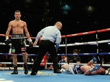 Carl Froch walks off after knocking out George Groves in their rematch at Wembley Stadium on May 31, 2014