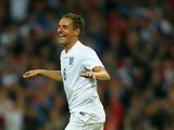 Phil Jagielka of England celebrates scoring their third goal during the international friendly match between England and Peru at Wembley Stadium on May 30, 2014