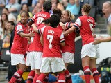 Kelly Smith of Arsenal Ladies celebrates scoring their first goal during the FA Women's Cup Final match against Everton Ladies at Stadium mk on June 1, 2014