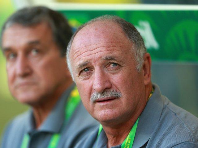 Brazil coach Luis Felipe Scolari sits on the bench on June 26, 2013.
