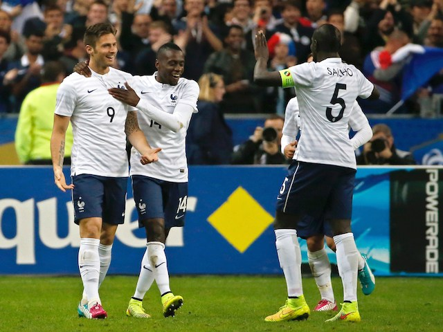 France's players forward Olivier Giroud, forward Blaise Matuidi and defender Mamadou Sakho celebrate after Giroud scored a goal during a friendly football match against Norway on May 27, 2014