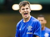 Charlie Telfer of Rangers celebrates after scoring a penalty goal against Manchester City on May 26, 2013