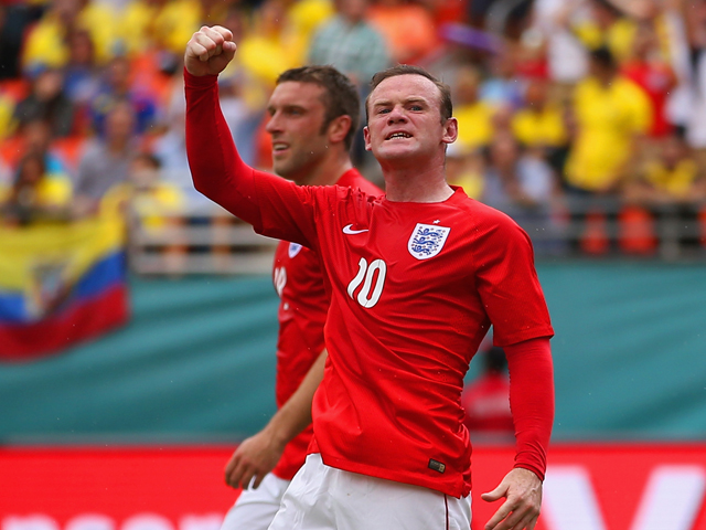 Wayne Rooney of England celebrates scoring their first goal during the International friendly match between England and Ecuador at Sun Life Stadium on June 4, 2014