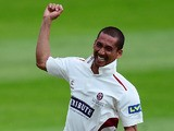 Alfonso Thomas of Somerset celebrates taking four wickets in four balls after dismissing Matt Machan of Sussex during day three of the LV County Championship on June 10, 2014