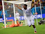 England's forward Daniel Sturridge celebrates after scoring a goal during a Group D football match between England and Italy at the Amazonia Arena in Manaus during the 2014 FIFA World Cup on June 14, 2014