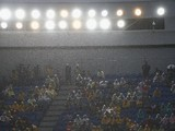 A view of the seats as the rain pours down during the 2014 FIFA World Cup Brazil Group A match between Mexico and Cameroon at Estadio das Dunas on June 13, 2014