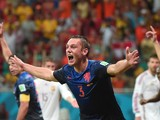 Netherlands' defender Stefan de Vrij celebrates scoring their third goal during a Group B football match between Spain and the Netherlands at the Fonte Nova Arena in Salvador during the 2014 FIFA World Cup on June 13, 2014