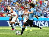 Edinson Cavani of Uruguay shoots and scores his team's first goal on a penalty kick during the 2014 FIFA World Cup Brazil Group D match between Uruguay and Costa Rica at Castelao on June 14, 2014