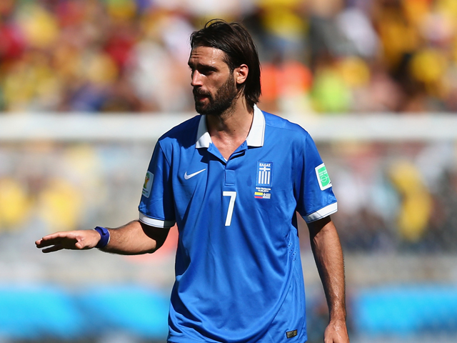 Giorgos Samaras of Greece gestures during the 2014 FIFA World Cup Brazil Group C match between Colombia and Greece at Estadio Mineirao on June 14, 2014