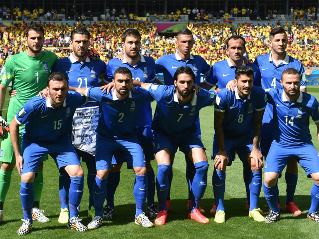 The Greece players prior to the group C football match between Colombia and Greece at the Mineirao Arena in Belo Horizonte during the 2014 FIFA World Cup on June 14, 2014