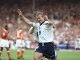 Alan Shearer celebrates scoring for England against Holland on June 18, 1996.