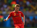 Kevin De Bruyne of Belgium controls the ball during the 2014 FIFA World Cup Brazil Group H match between Belgium and Algeria at Estadio Mineirao on June 17, 2014