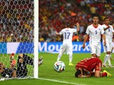 Sergio Busquets of Spain reacts after a missed chance as goalkeeper Claudio Bravo of Chile looks on during the 2014 FIFA World Cup Brazil Group B match between Spain and Chile at Maracana on June 18, 2014