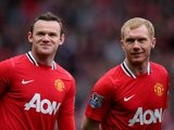 Wayne Rooney and Paul Scholes before a Manchester United match against Aston Villa on April 15, 2012.