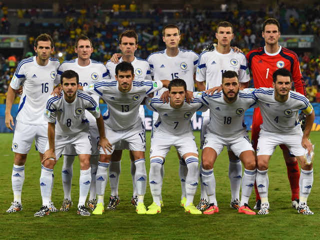 Bosnia and Herzegovina pose for a team photo prior to the 2014 FIFA World Cup Group F match between Nigeria and Bosnia-Herzegovina at Arena Pantanal on June 21, 2014