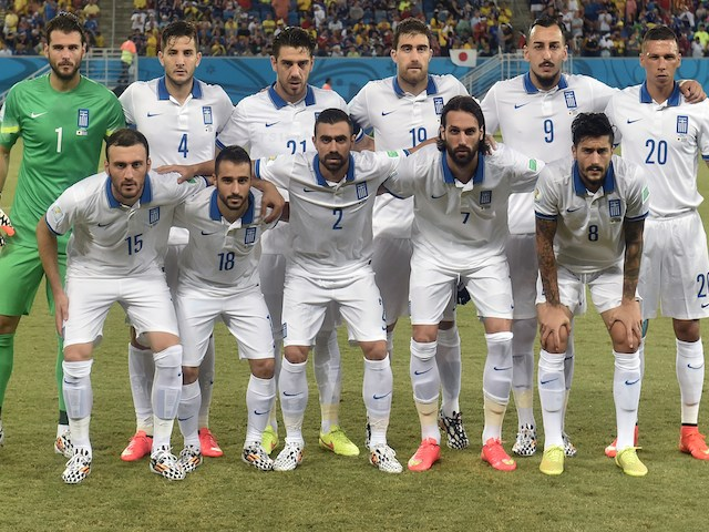 Greece lineup before their game with Japan on June 19, 2014