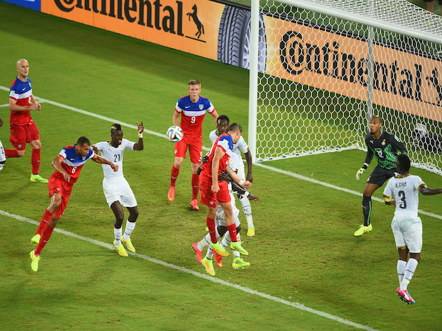 John Brooks of the United States scores his team's second goal on a header past Adam Kwarasey of Ghana during the 2014 FIFA World Cup Brazil Group G match on June 17, 2014