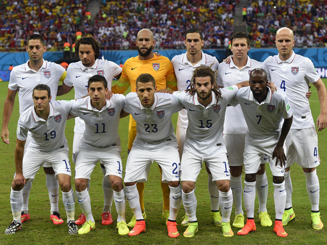 USA players pose before a Group G football match between USA and Portugal at the Amazonia Arena in Manaus during the 2014 FIFA World Cup on June 22, 2014