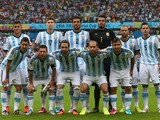 Argentina pose for a team photo prior to the 2014 FIFA World Cup Brazil Group F match between Nigeria and Argentina at Estadio Beira-Rio on June 25, 2014
