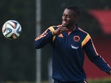 Colombia's forward Jackson Martinez eyes the ball eyes the ball during a training session at the President Laudo Natel Athlete Formation Center in Cotia, Sao Paulo, on June 21, 2014